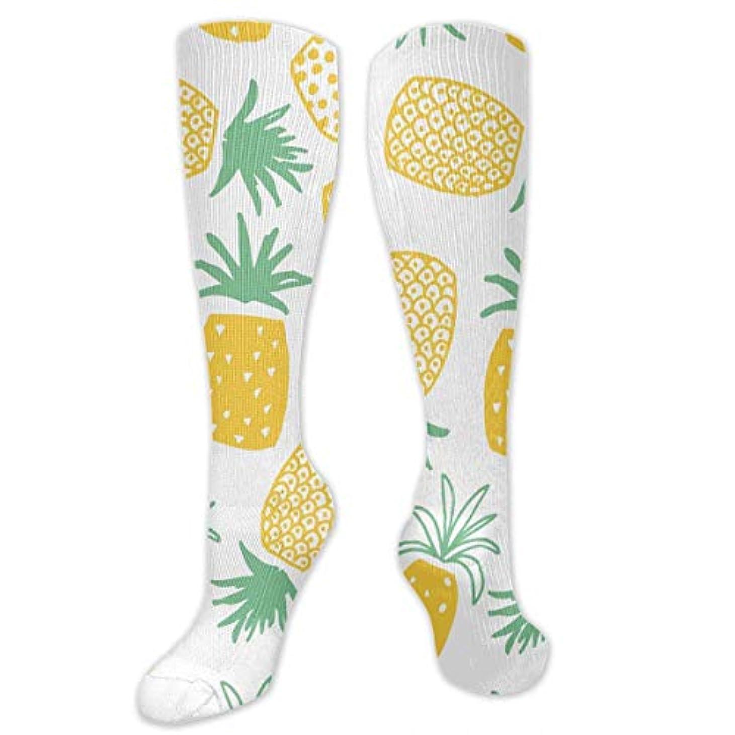 敬の念精巧な通信する男性の女性(20-30 mmHg)のためのQrriyパイナップルプリントシームレスなパターン3 D圧縮靴下