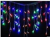 Often LEDイルミネーションライト 5M 96球 長短つらら イルミネーション  室内装飾 クリスマスツリー、ワードローブ、結婚式、学園祭、ガーデンパーティー、フェンス、パティオ 飾りスター Home Led コントローラとプラグ付 DIY多色連結可能!5色入れ(ミックス)