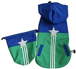 ディー・オー・ジー (D・O・G) 巾着付き星リフレクターレインコート ブルー×グリーン SS 犬用