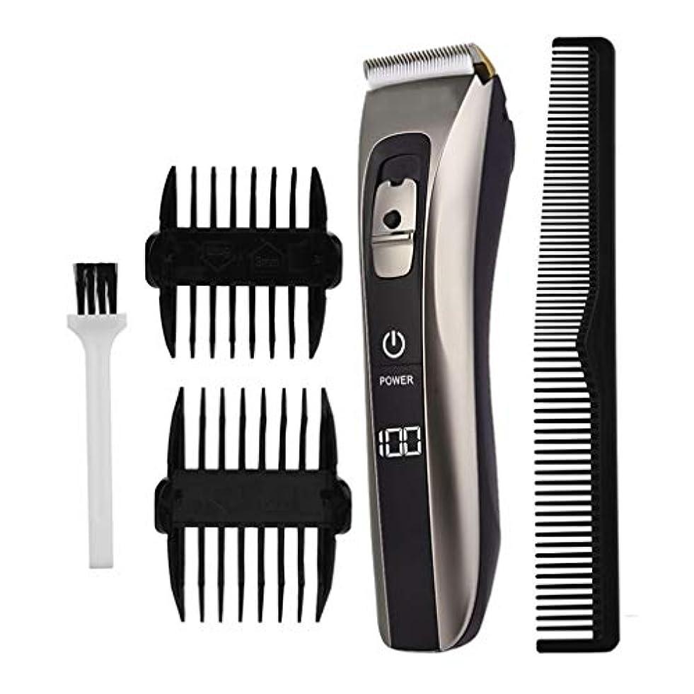 セラミックチタン合金ブレードヘアトリマー、USB充電式電気かみそりひげ剃りトリマー、LEDデジタルディスプレイ、掃除が簡単、低ノイズデザイン