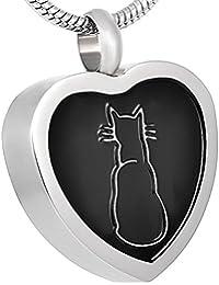 ブラックエナメル猫ペンダントジュエリーメモリアル火葬ペットUrn for灰