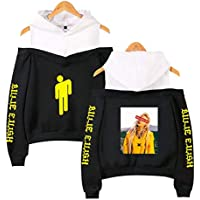Flyself Women's Billie Eilish Hoodie Off Shoulder Long Sleeve Hoodies Hiphop Music Fans Sweatshirts Pullover