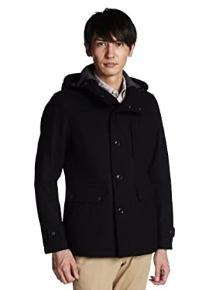 Stretch Melton Stand Collar Hooded Field Jacket 3225-139-1250: Black