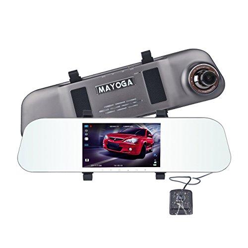 ドライブレコーダー ルームミラー型 MAYOGA A80 ミラー ドラレコ 5.0インチ液晶モニター 防水バックカメラ付 前後 カメラ 高画質1080p フルHD 170°広視野角 リアカメラ同時録画 WDR HDR Gセンサー搭載 ループ録画 駐車監視モード 暗視機能 常時録画 本体バッテリー内蔵