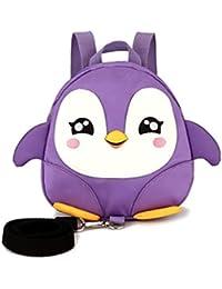 Manyao キッズミニバックパックアンチロスト漫画ペンギンの安全ハーネスベルト牽引ロープ