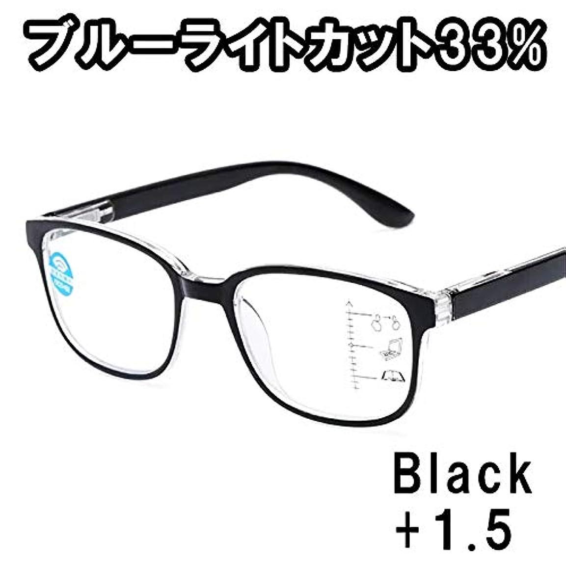 誤解おそらく巻き取り男女兼用 リーディンググラス 老眼鏡 メガネ 頑丈 軽量 UVカット ブルーライトカット +1.0 +1.5 +2.0 (ブラック+1.5)