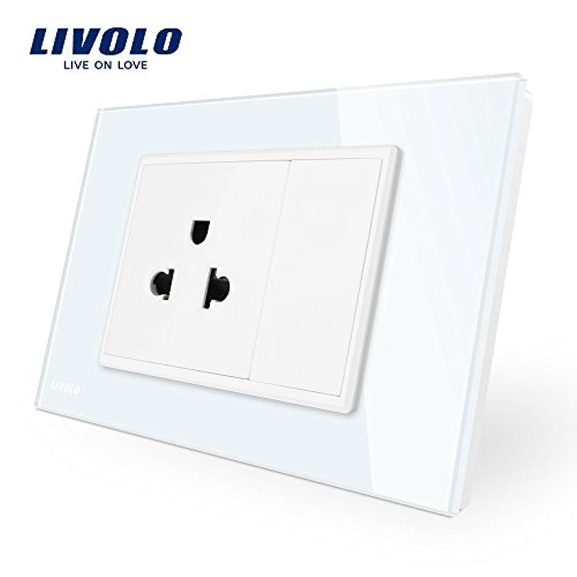 アマチュア行く予防接種LIVOLO 埋込接地コンセント ホワイト 強化ガラスパネル AC110-250V,119mmx78mm,CE認証、-C9C1US-11
