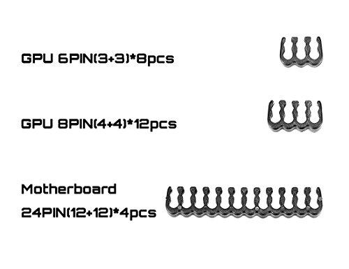 『Novonest 3.4mm スリーブケーブル PCケーブルコーム ガイド スリーブガイド (24点セット 24-pinx4、8-pinx12、 6-pinx8)黒い【CM245】』の1枚目の画像