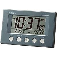 【Amazon.co.jp 限定】リズム時計 目覚まし時計 電波時計 温度計・湿度計付き フィットウェーブスマート ガンメタリック 8RZ166SR71