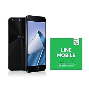 ASUS ZenFone4 SIMフリー スマートフォン (ブラック/5.5インチ)【日本正規代理店品】(オクタコアCPU/6GB/64GB/3300mAh)ZE554KL-BK64S6/A ZE554KL-BK64S6/A & LINEモバイル エントリーパッケージセット