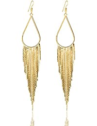 Vijiv 1920s Long Drop Tassel Earrings 20s Flapper Jewelry Costume Accessories
