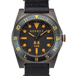 腕時計 BENRUS 44mm Gun-Metal Plated Stainless Steel, Military-Inspired Quartz H6 Watch BR012B [並行輸入品]