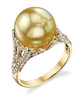 11mm Golden South Sea Cultured Pearl & Diamondガブリエラ・リング18Kゴールド–AAA品質