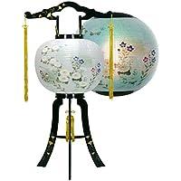 盆提灯 11号 置き型 あかり 蒔絵入 廻転灯付 高さ80cm 電気コード式 日本製 行灯 盆提灯 八女提灯