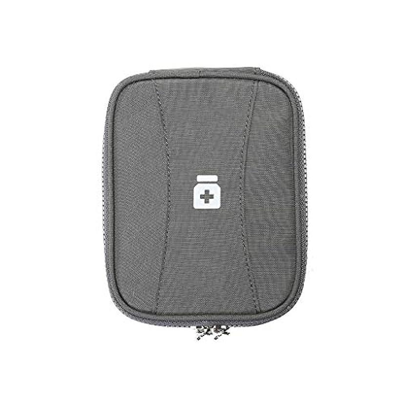 急流契約するスチール小さな薬箱ホームメディカルパッケージ旅行薬箱ポータブル救急薬ボックス収納バッグ HUXIUPING (Color : Gray)