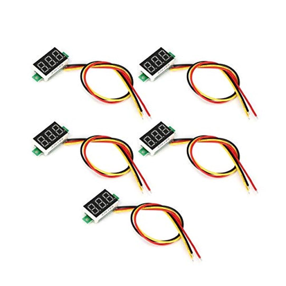 バレーボールマイルド犯罪5PCS 0-100V 0.36in 3線式LEDデジタル電圧計電圧計カーボルトテスター