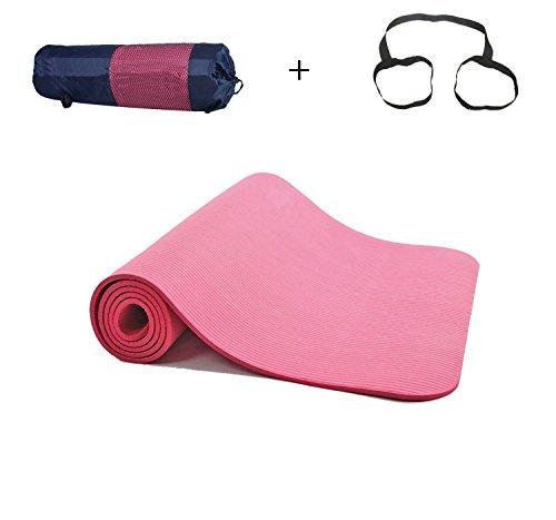 ヨガマット [BigFox] トレーニングマット 厚さ 10mm 軽量 エクササイズマット ゴムバンド 収納ケース付 ピンク