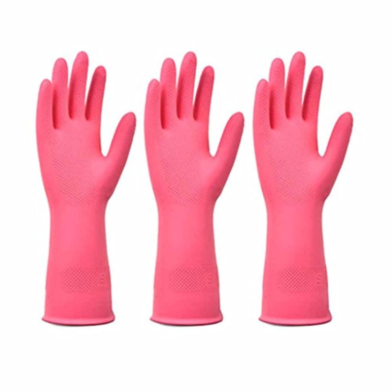 トマトシェルター北方使い捨て手袋 レッドラテックスノンスリップ耐久手袋キッチン多機能防水、オイル手袋 (Size : Three pairs)