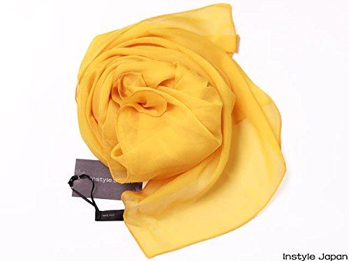 シルク100%スカーフ小さめ【SSサイズ】65×65cmバンダナバッグネッカチーフポケットチーフ首もと暖か選べる23色(山吹色)絹UV防寒シフォン天然素材[InstyleJapan]