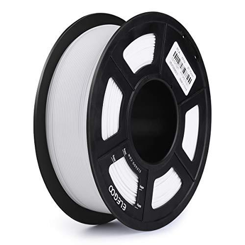 ELEGOO PLA 3Dプリンターフィラメント寸法精度+/- 0.03 mm 1 kgスプール1.75 mm (白)