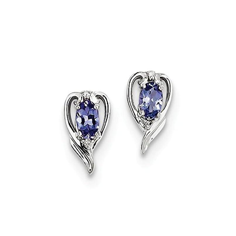 ブリーク散逸塗抹ICE CARATS 925 スターリングシルバー ダイヤモンド ブルー タンザナイト ポスト スタッド ボール ボタン ピアス ファインジュエリー 女性へのギフトに最適