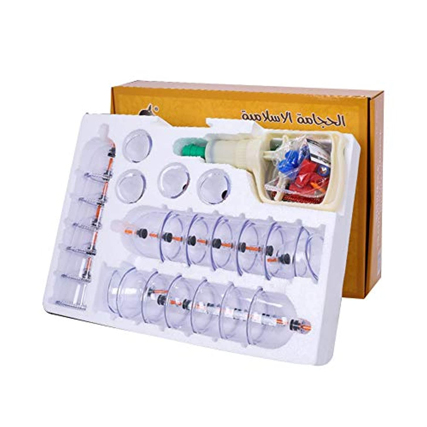 フェードアウトタイムリーな使い込む24カップマッサージカッピングセット、真空吸引中国のツボ療法、在宅医療、全身のチクチクする疲労、リリーフネックの背中の痛みとストレス