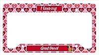 キャロラインはLH9130LPFグレートデーンバレンタイン愛と心のナンバープレートフレームを宝物