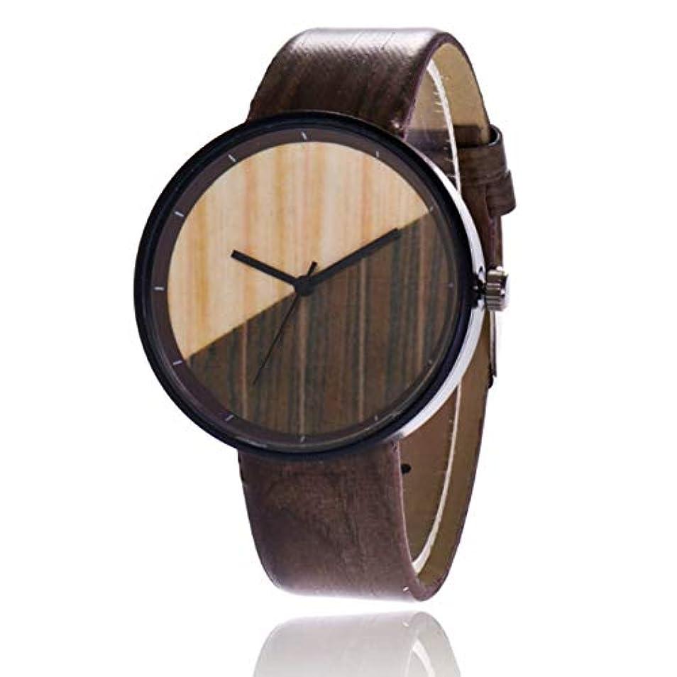 強度パイ乱すDeeploveUU 男のシンプルなスタイルのステッチ木柄ウォッチレザーベルトメンズ腕時計腕時計クォーツブレスレットハンド手首