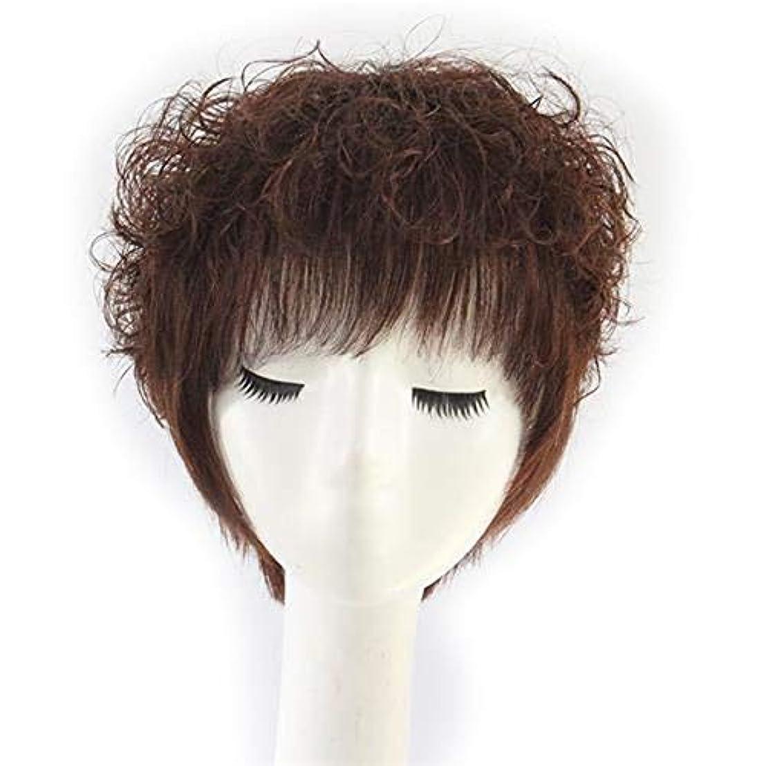 見落とすポータル母音YOUQIU 本物の人間の髪の毛レディショートカーリーヘア耐熱フルウィッグウィッグウィッグ中年 (色 : Natural color)