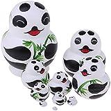 Dolity Set of 10 Pieces Panda Printed Wooden Russian Nesting Dolls Babushka Matryoshka Stacking Doll Kids Crafts