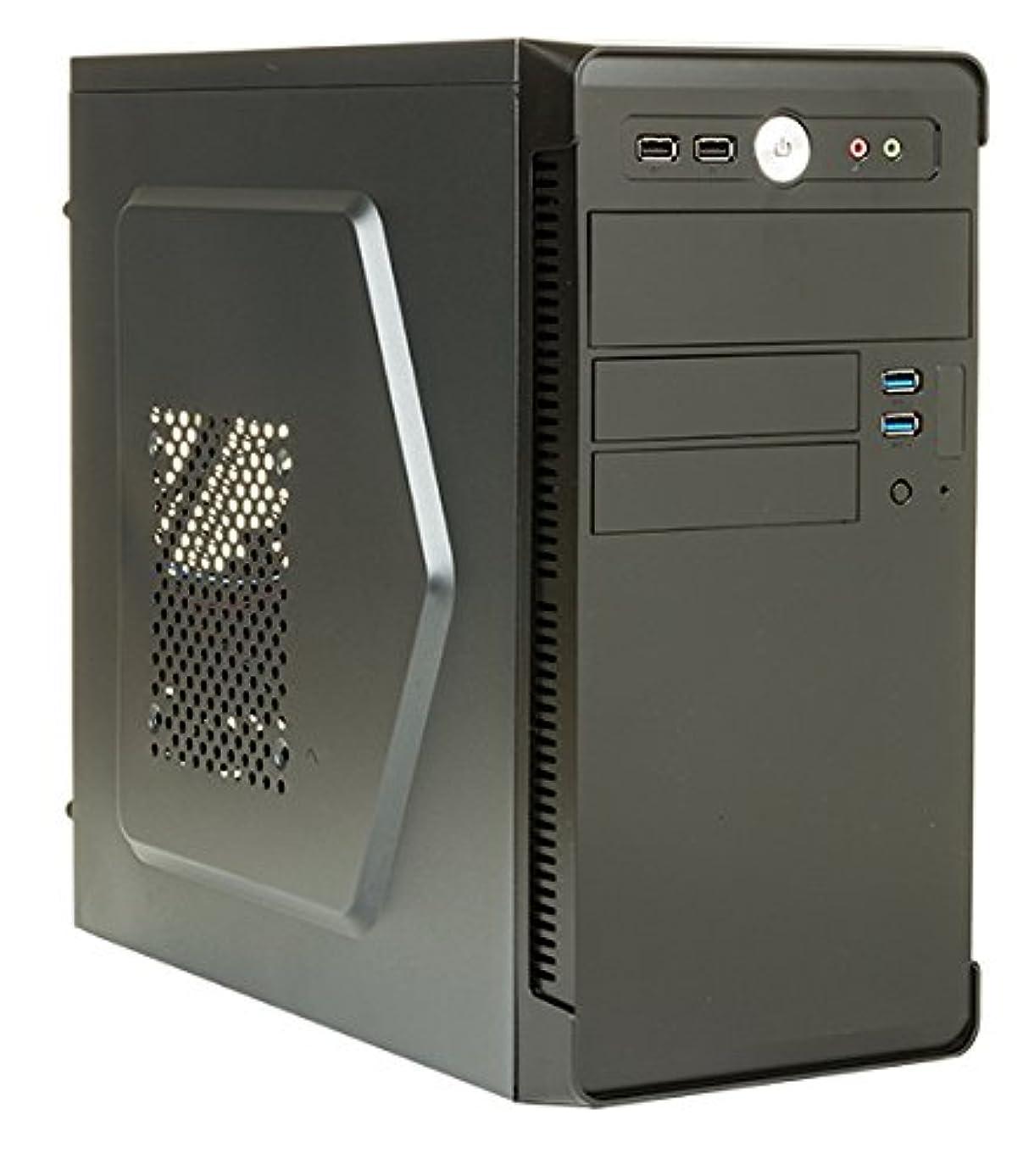不健康チョーク効能ITEK River Mini-Tower 500 Wブラックコンピュータケース - コンピュータの箱(ミニタワー、PC、Micro-ATX、ブラック、500 W、上部)