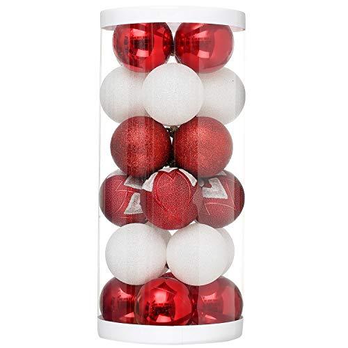 クリスマスオーナメント クリスマスボール ひも付きXmas ツリー飾りデコレーション ボール 飾り クリスマス パーティー 忘年会 (ホワイトとレッド, 6CM)