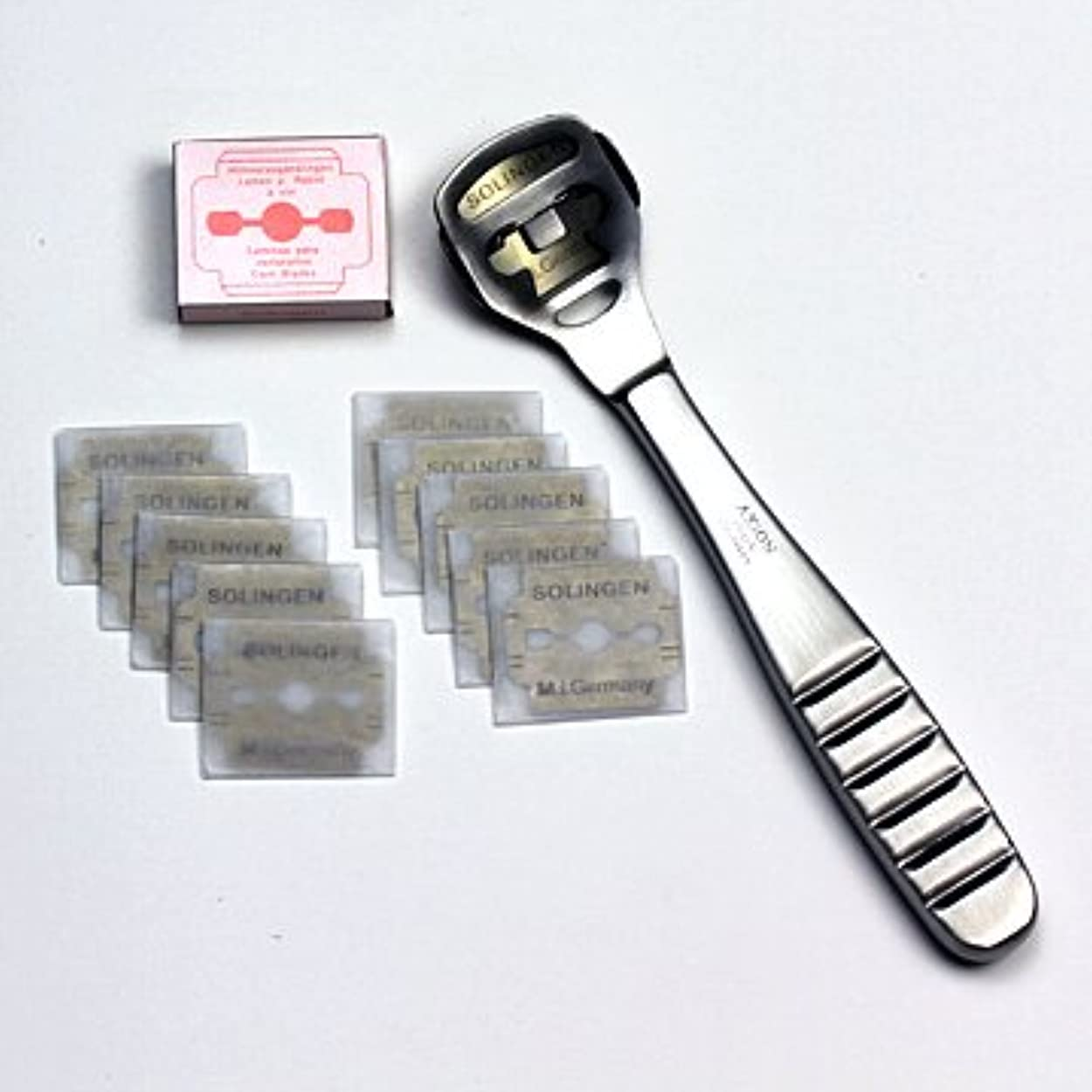 輝度石化するジャンクションドイツ?ゾーリンゲン AXiON(アクシオン)ステンレス製かかと削り器(ゾーリンゲン製替刃11枚付)#slg008964fba