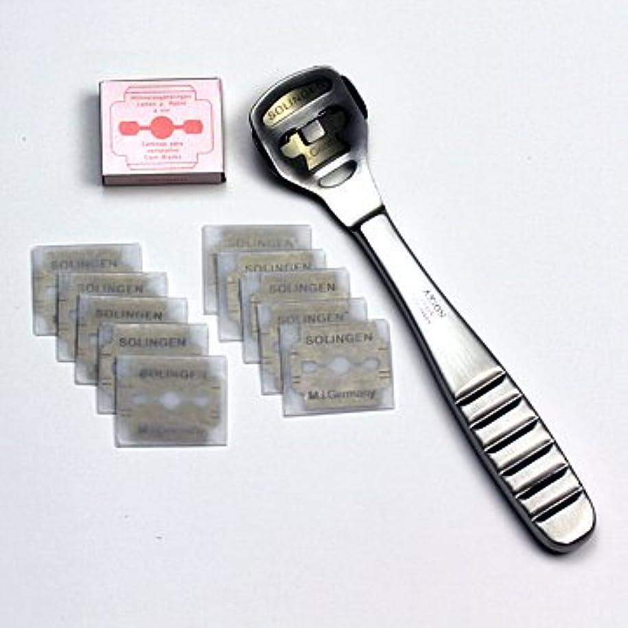 今後言語学の中でドイツ?ゾーリンゲン AXiON(アクシオン)ステンレス製かかと削り器(ゾーリンゲン製替刃11枚付) #slg008420fba