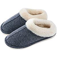 OKSOO Men's Comfort Slip Winter Warm Fluffy Comfy Slipper Memory Foam Slippers Cotton Fabric Anti-Skid Sole Home Slipper