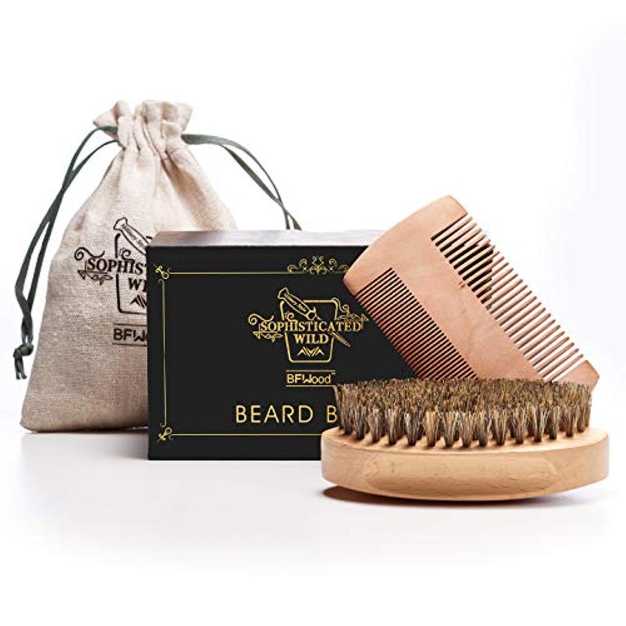 スイ珍しい抑制BFWood Beard Brush Set 豚毛髭ブラシと木製コム アメリカミリタリースタイル (ブラシとコムセット)