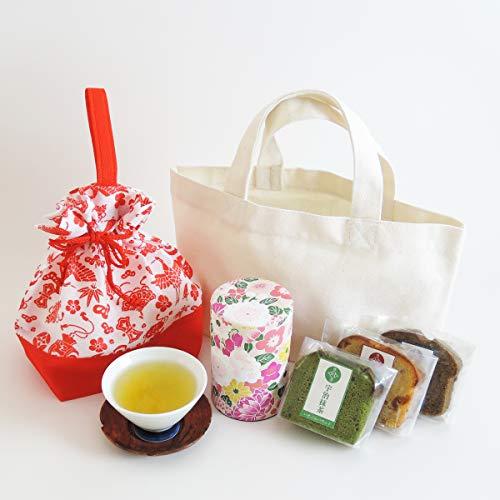高級日本茶 パウンドケーキ3個 トートバッグ お茶 和菓子 洋菓子 セット 川本屋茶舗