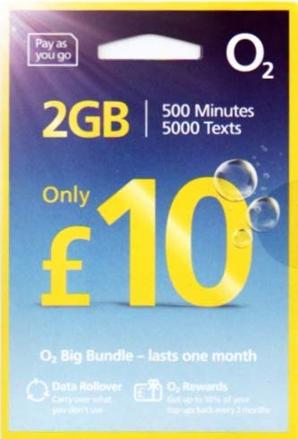 「O2 」O2 イギリス他ヨーロッパ各国対応 プリペイドSIM (30日間 2GB 5000分無料通話)