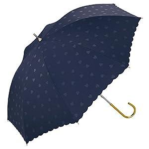 w.p.c 日傘 晴雨兼用 遮光 ハート ネイビー 50cm 81-8919