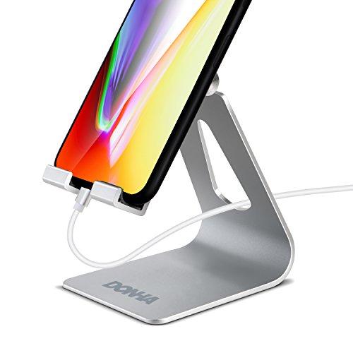 スマホ スタンド タブレット スタンド スマホ置き 角度調整 携帯置き スマホホルダー 充電スタンド タブレット& スマホ用 グリットブラスティングiPhone アンドロイド スタンド アルミ Nintendo Switch, Kindle iPad mini air 1 2 3 4, iPhone X 8 7 6 6s plus 5 5s ,Samsung S3 S4 S5 S6 S7 S8, Galaxy S8 S7 S6, Note 8 7 6 5, LG, Sony, Huawei Nexus (銀)