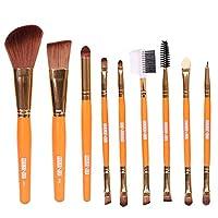 LUOSAI 9個赤面唇メイク眉アイライナーブラシセット化粧道具美容ブラシ(黄色) (Color : Orange)