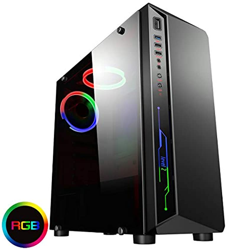 驚いたことにラインナップ不誠実CiT Blitz PC Gaming Case, Mid-Tower ATX, RGB Lighting, Halo Single-Ring RGB Fan, Removable Dust Filter, RGB Case On a Budget Black