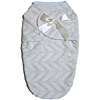 Beautiful Cozy And Warm Baby Swaddle Blanket - Ivory Chevron by swuddles