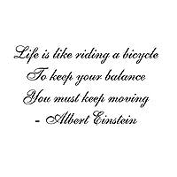 iBy アイバイ ウォールステッカー アインシュタイン 名言 黒 マット Life is like riding a bicycle 小 日本語説明書付