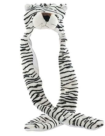 FakeFace アニマル 動物 オシャレ 帽子 フラシ天 耳保護 ファッション 可愛い 帽子+マフラー+手袋 連体セット きぐるみ 防風防寒対策 ユニセックス 虎