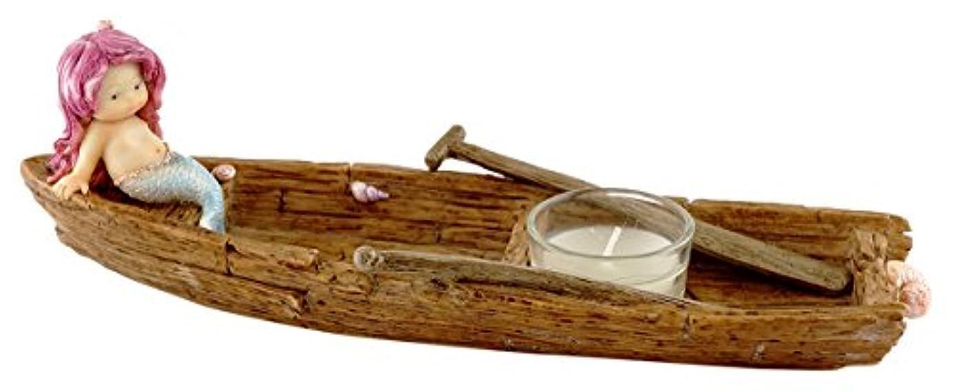 幅慣れる洗うTopコレクションAdorable Little Mermaid onボートIncense and t-lightキャンドルホルダー、10.5