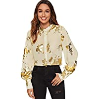 Milumia Women's Floral Blouse Sheer Stand Collar Bishop Sleeve Office Elegant Tops