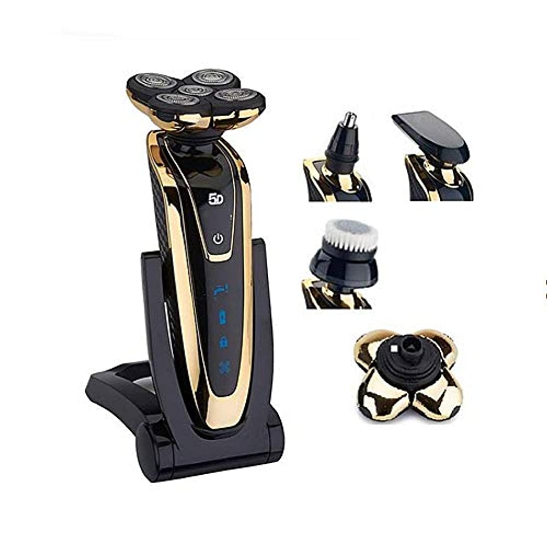 yangdi 男性用ウェット/ドライ5dシェーバー電動かみそり充電式ボディシェービングマシン防水ひげシェーバークリーニングゴールド