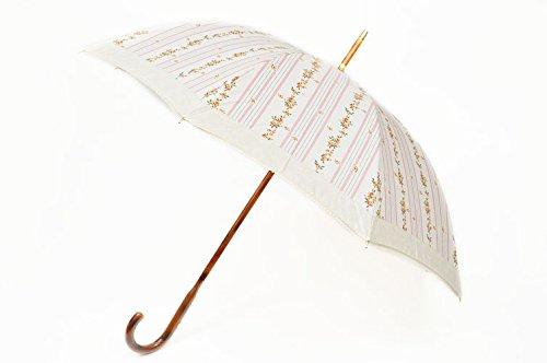 Ralph Lauren(ラルフローレン) 持ち手ウッド ピコレース ×フラワーデザイン 雨傘 長傘 / アイボリー×ピンク