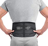 Mueller Lumbar Support Back Brace with Removable Pad, Black, OSFM